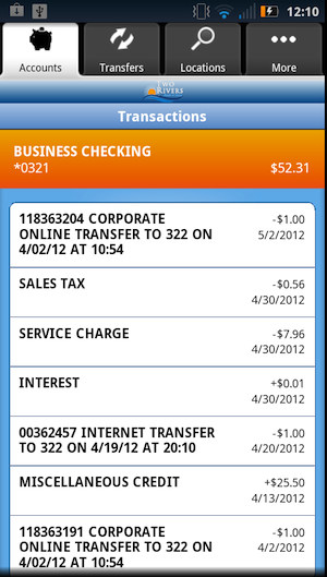 Android Transaction Details